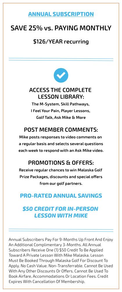 Malaska Golf, Golf Lessons, Video Lesson, Annual, Subscription