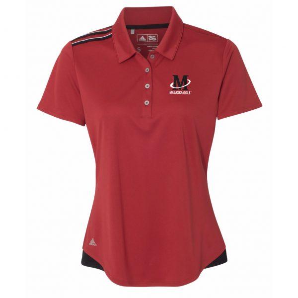 Adidas - Women's Climacool 3-Stripes Shoulder Sport Shirt - Red